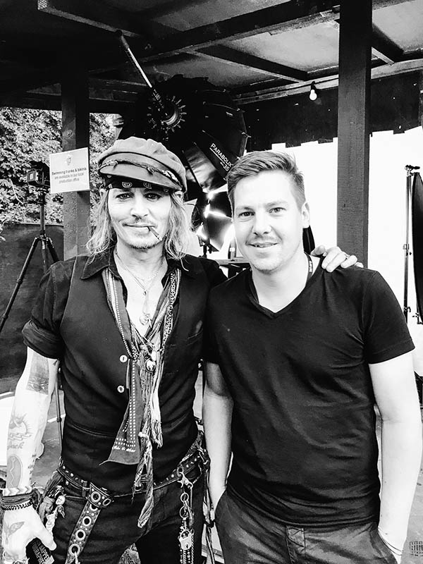 making of bts from a portrait shoot with Johnny Depp and Stefan Sappert
