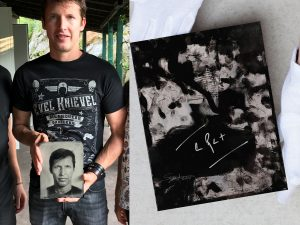 James Blunt holding his original signed Ambrotype  glass plate photograph